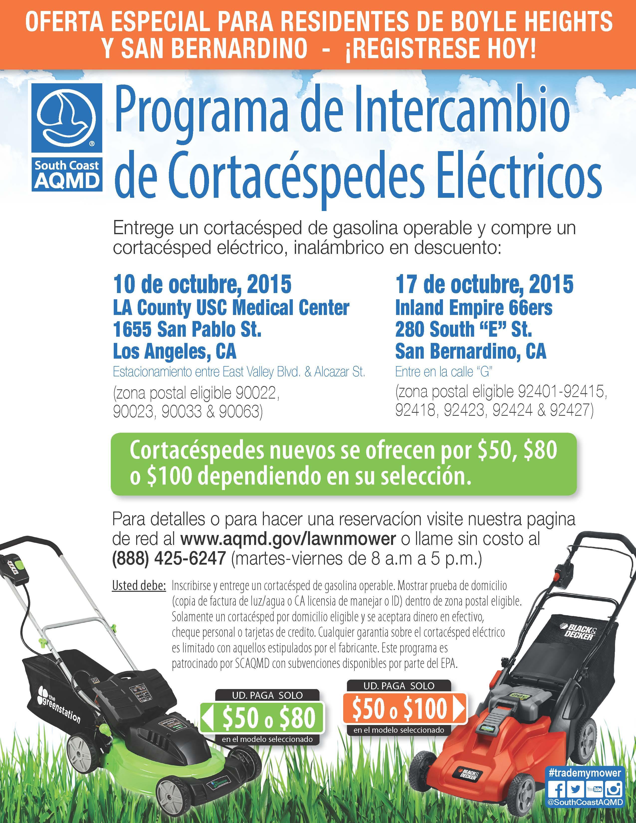 programa de intercambio de cortac eacute spedes el eacute ctricos supervisor lawn mower exchange flyer oct 15 spanish