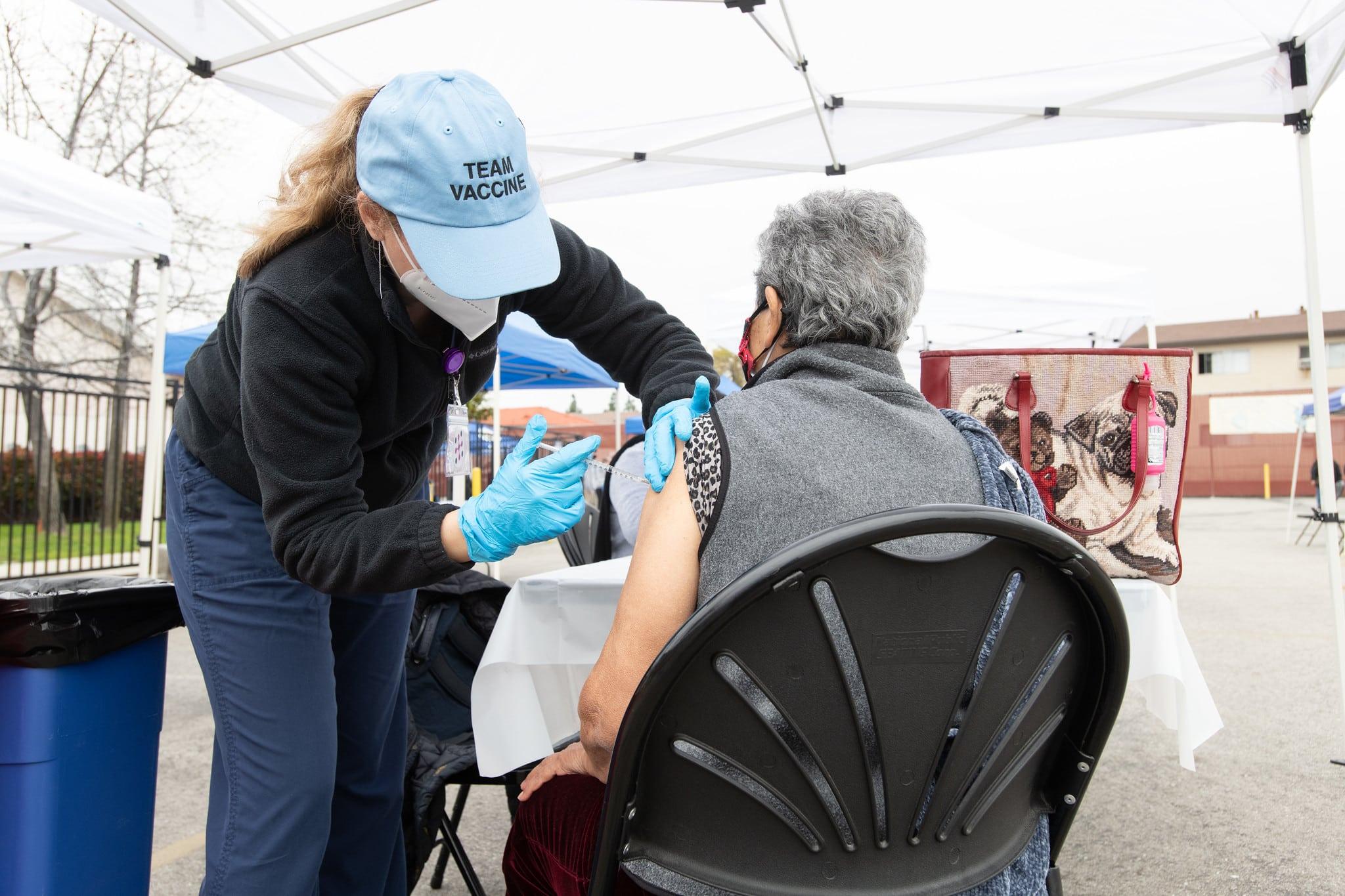 A man received a COVID vaccine